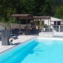 Vue piscine chauffée à camping -Riez